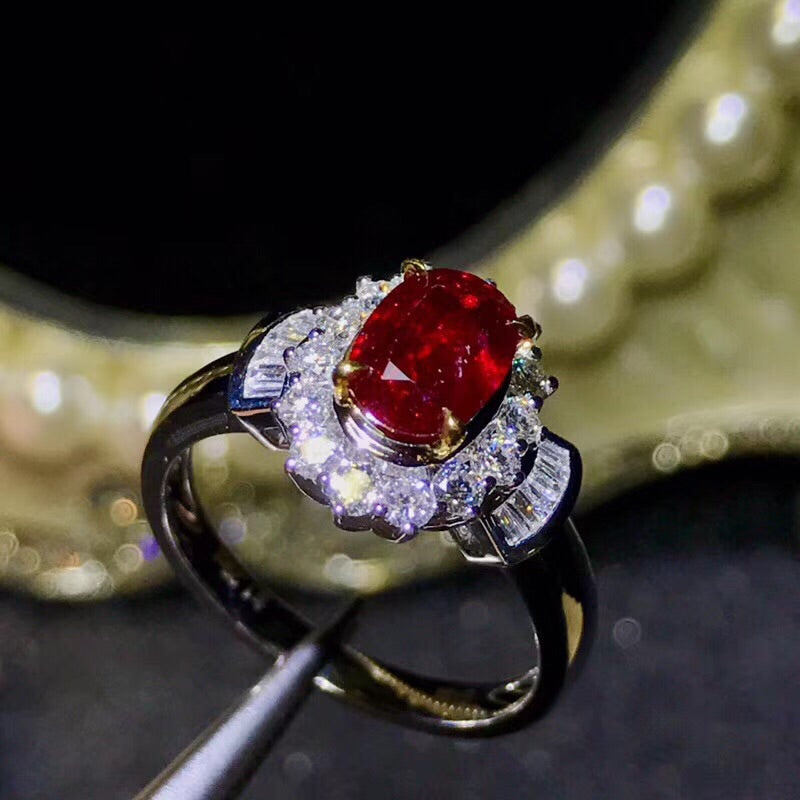 18k white gold pigeon blood red ruby stone diamond ring - Xingjewelry