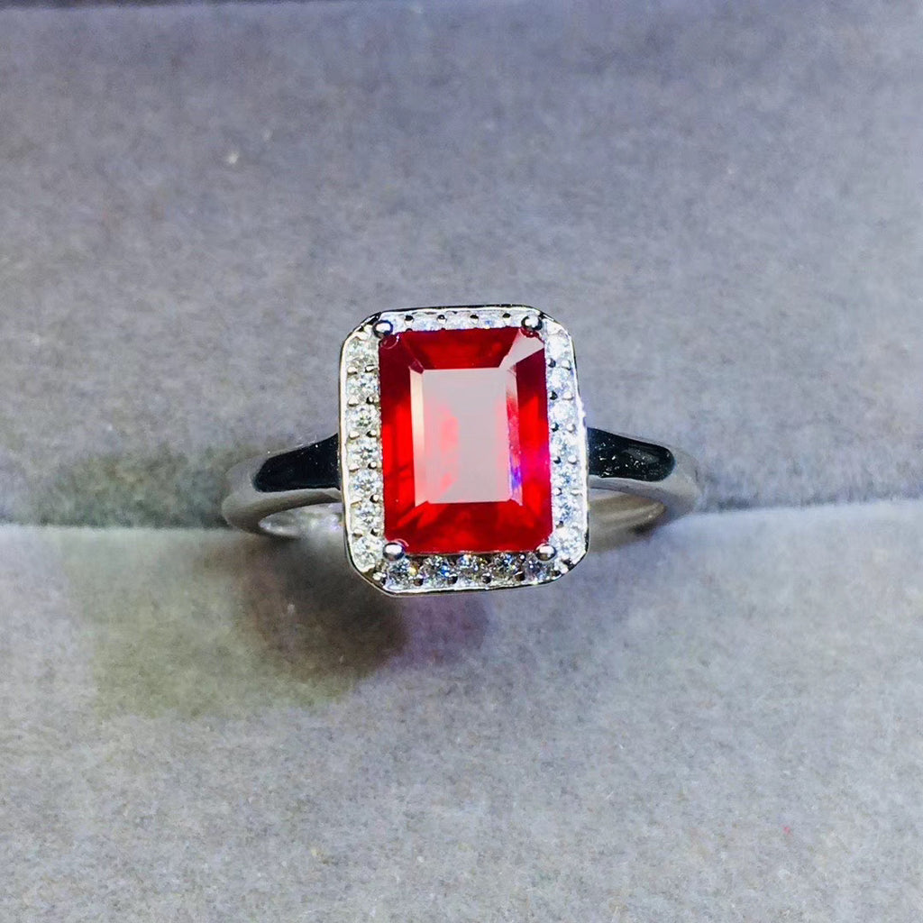 sterling silver ruby ring wedding engagement ring