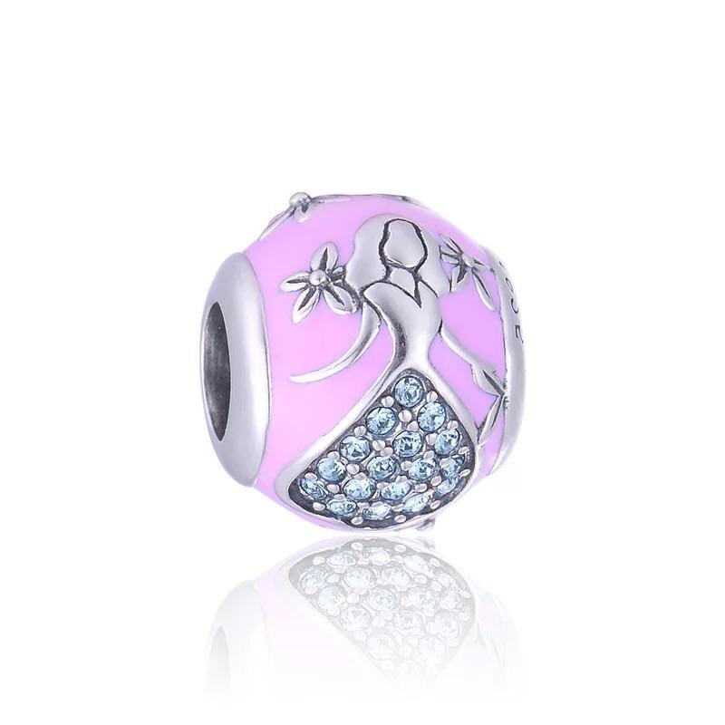 925 sterling silver pink flower girl charm