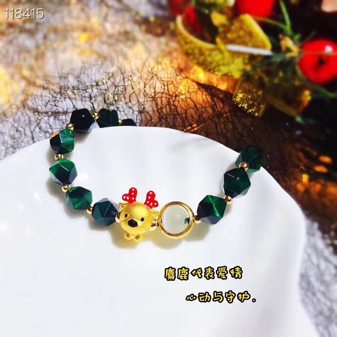 18k gold green tiger stone bracelet