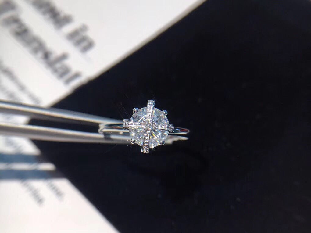 18k white gold crown diamond ring - Xingjewelry
