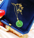18k gold green jade pendant necklace - Xingjewelry