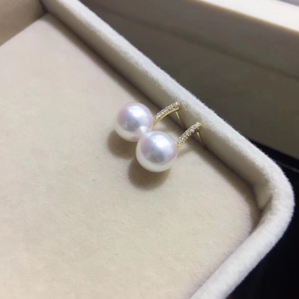 18k gold diamond pearl earring - Xingjewelry
