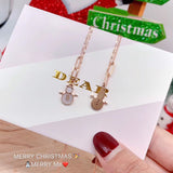 18k gold snow man pendant necklace