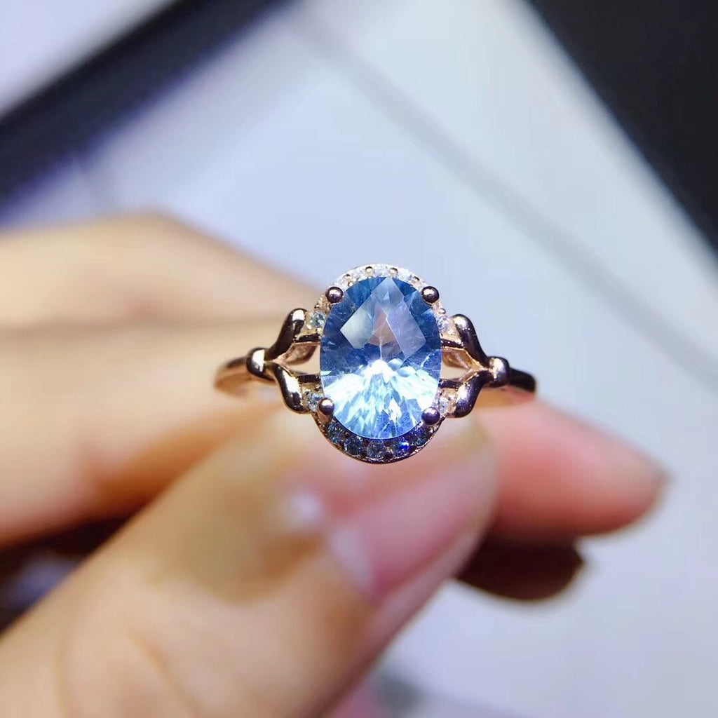 925 sterling silver blue  topaz stone ring