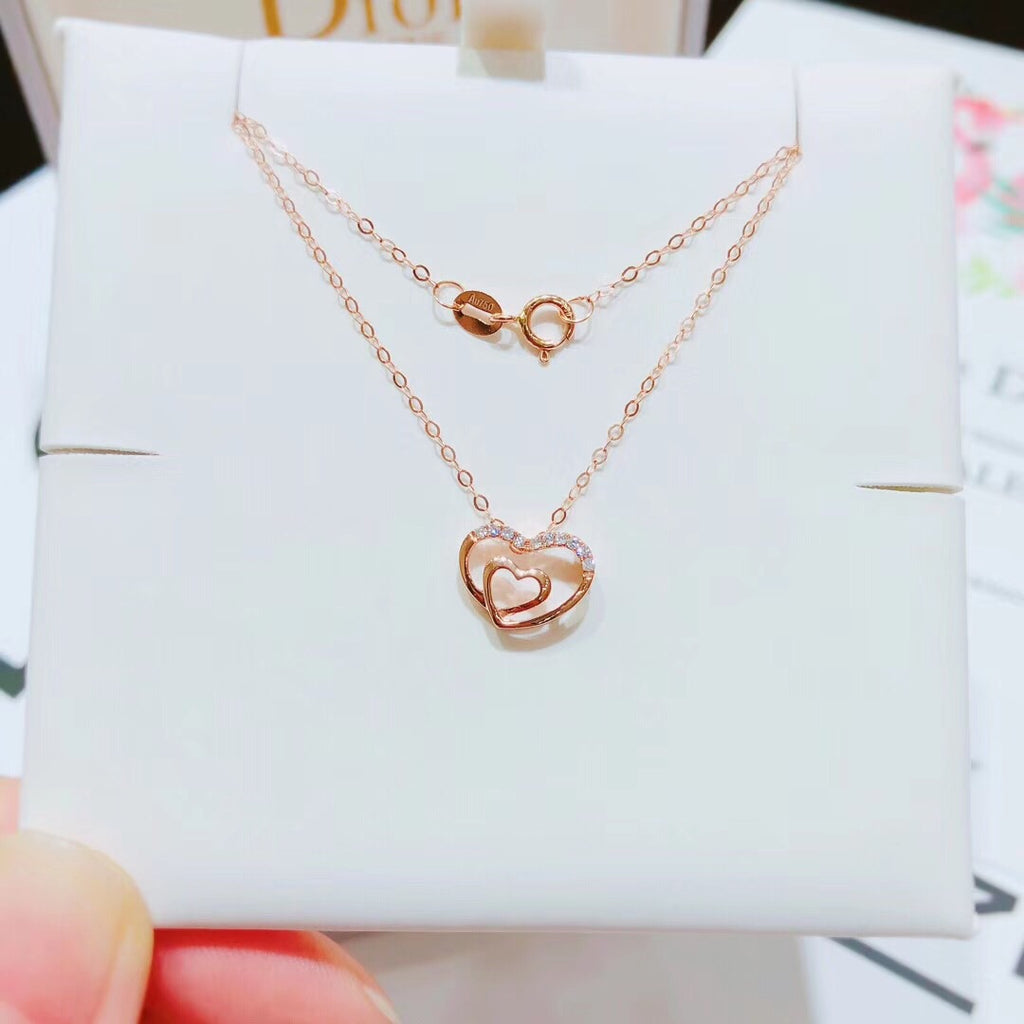 18k gold love heart necklace - Xingjewelry