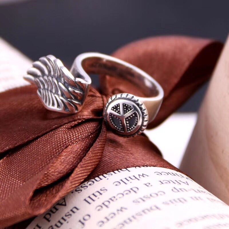 Peace wing silver open ring