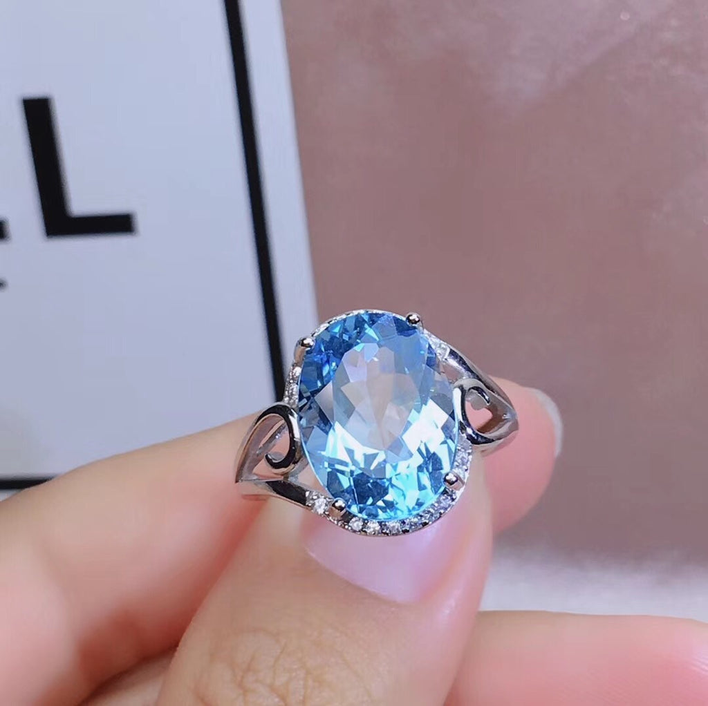 925 sterling silver topaz stone ring