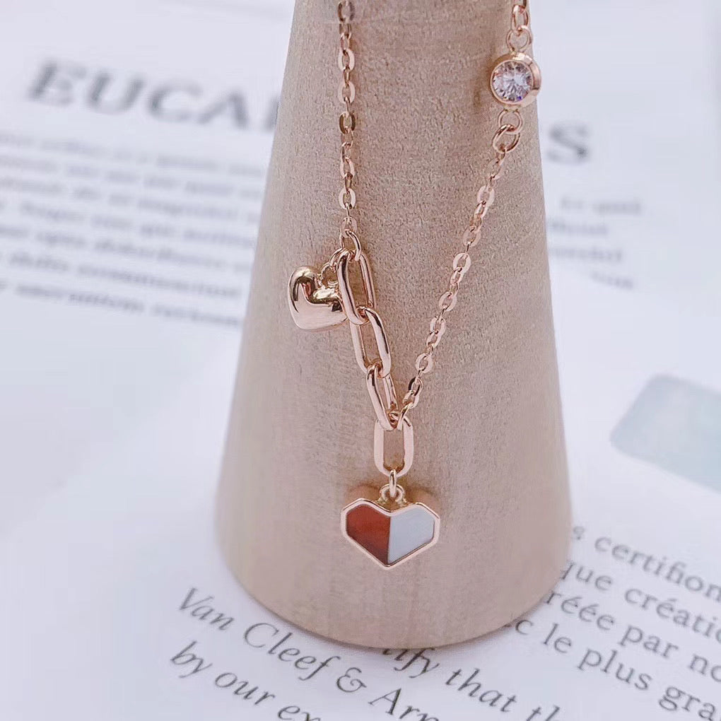 Solid gold French flag heart pendant bracelet