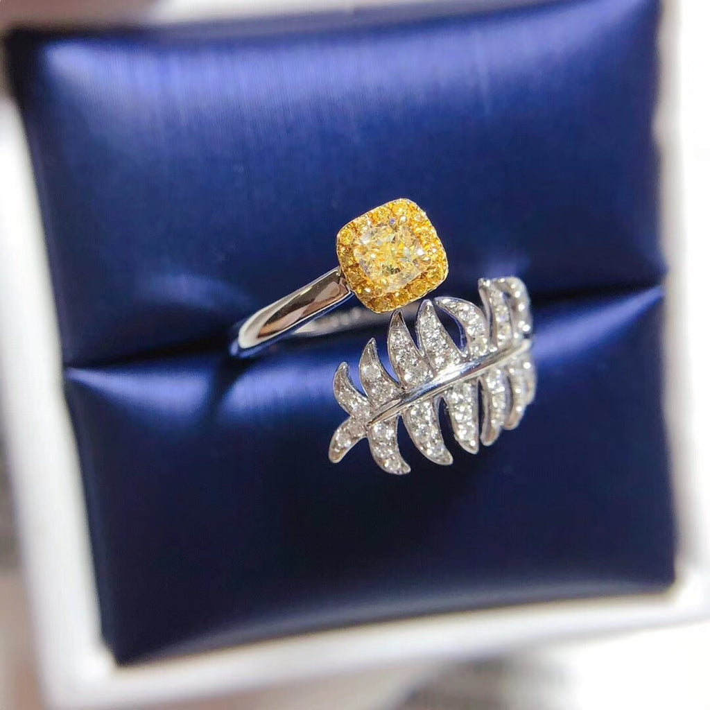 18k white gold yellow diamond leaf ring - Xingjewelry