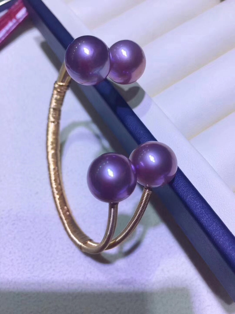 14k gold sterling silver purple Edision pearl bangle bracelet - Xingjewelry