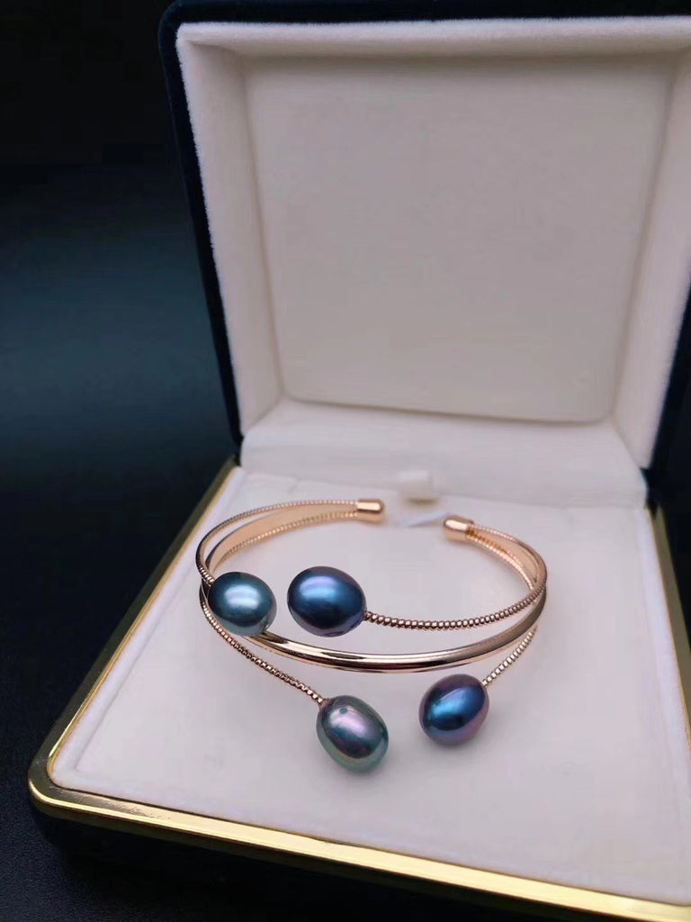 14k gold fresh water pearl open bangle
