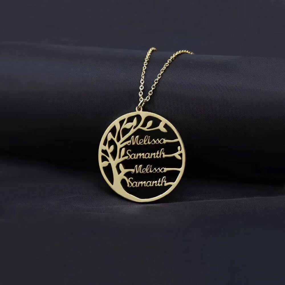 18k gold round family tree name personalized pendant necklace - Xingjewelry