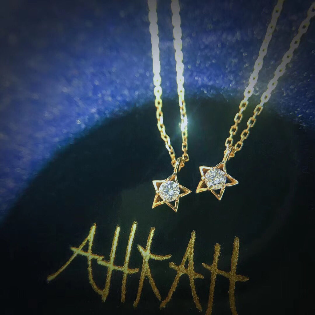 18k gold star diamond pendant necklace - Xingjewelry