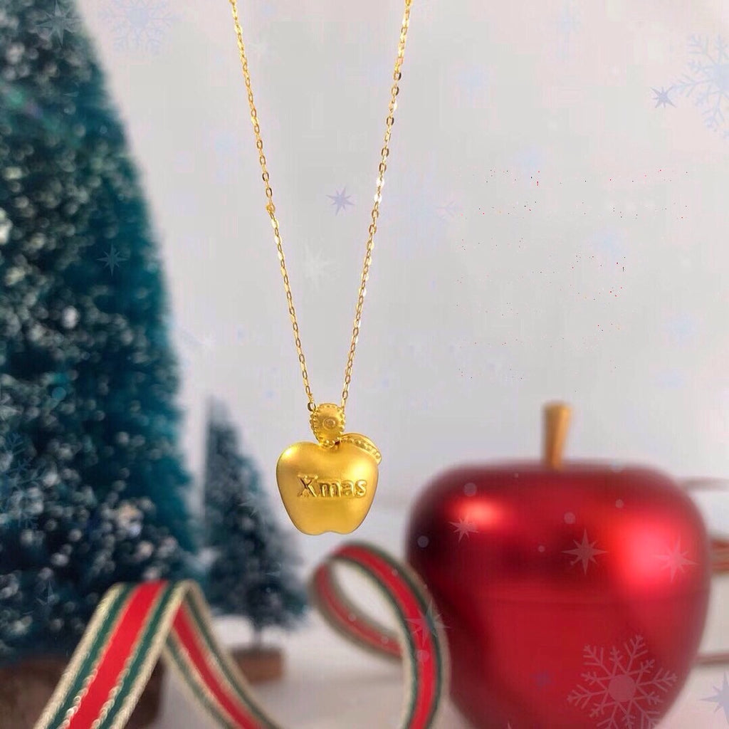 Christmas pure 18K gold xmas apple necklace - Xingjewelry