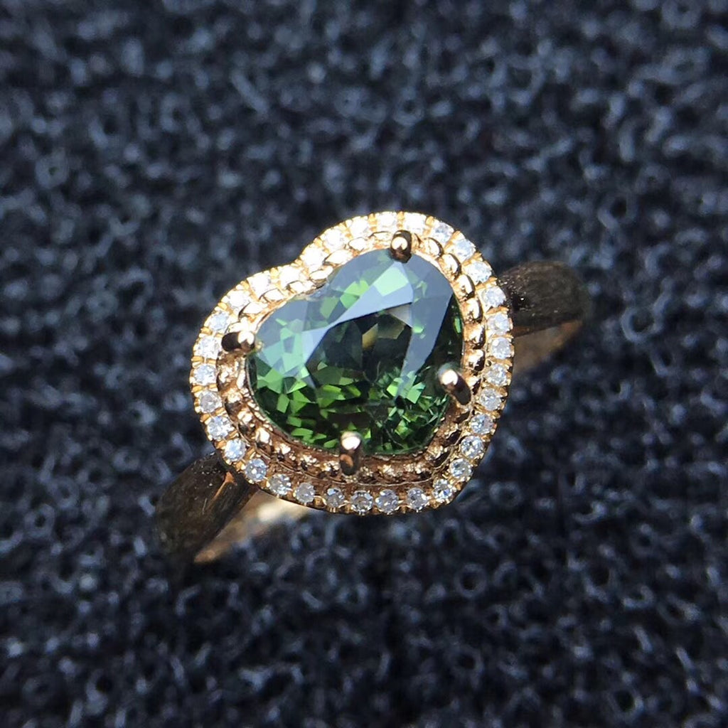 18k gold diamond tourmaline stone ring - Xingjewelry