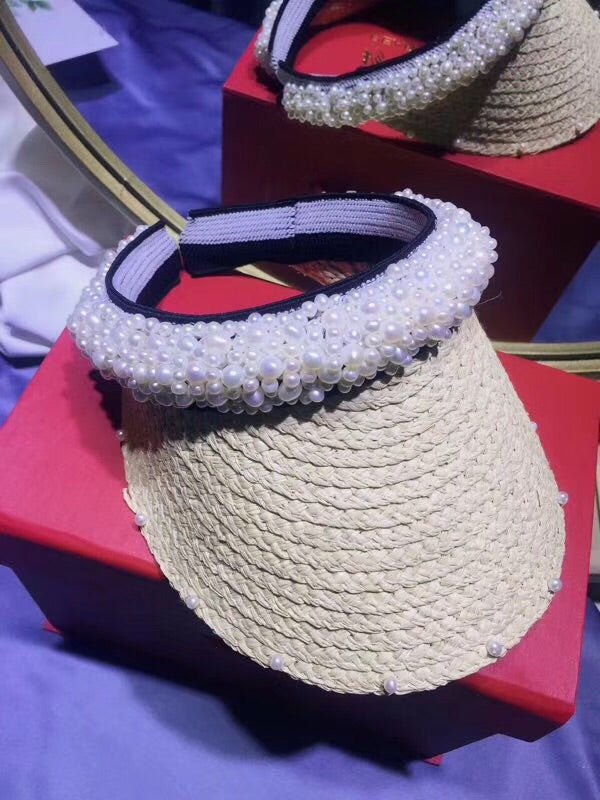 Fashion Grass hand weaved pearl hat