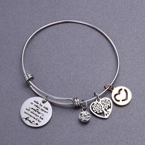 Sister tree pendant push bangle bracelet