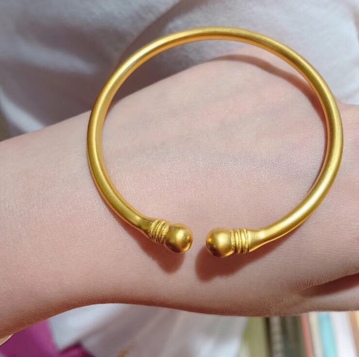 24k Solid gold open bangle bracelet