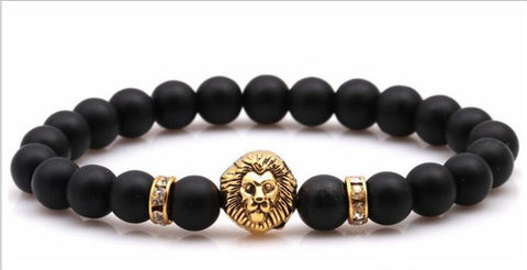 Grind tiger eye stone lion head bracelet for man /woman - Xingjewelry