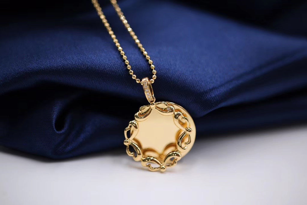 18k gold chain tag pendant necklace