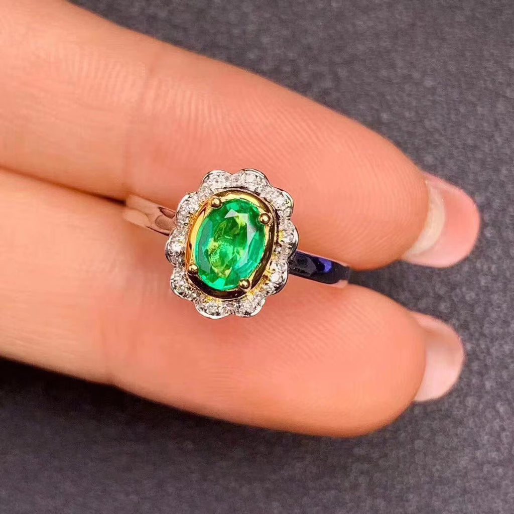 Sterling silver emerald stone ring wedding ring