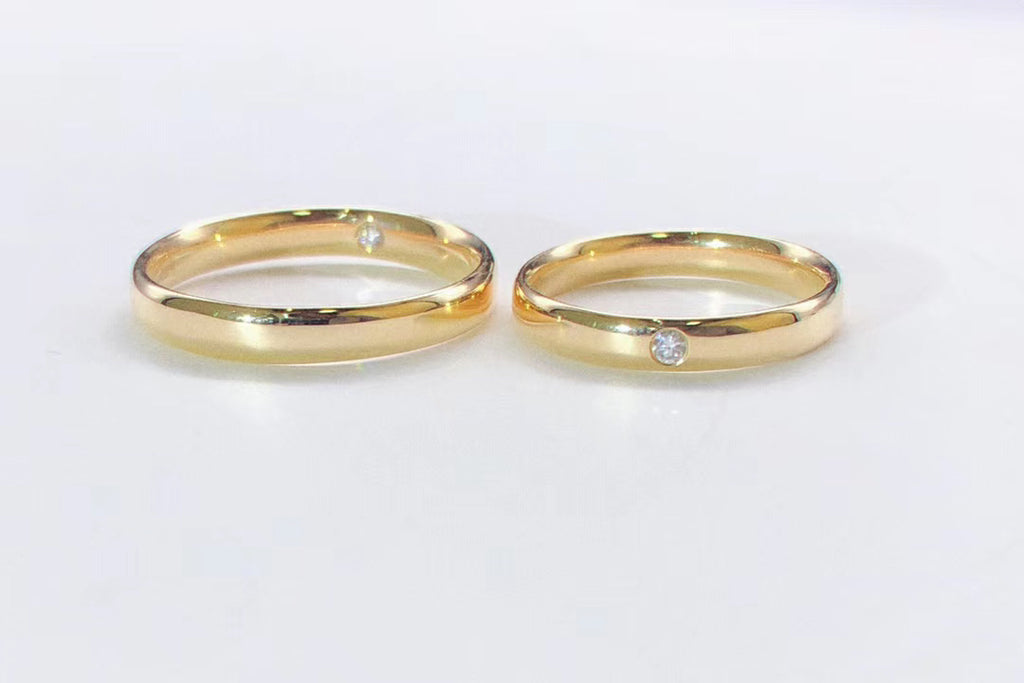 18k gold diamond love couple ring 2 pcs