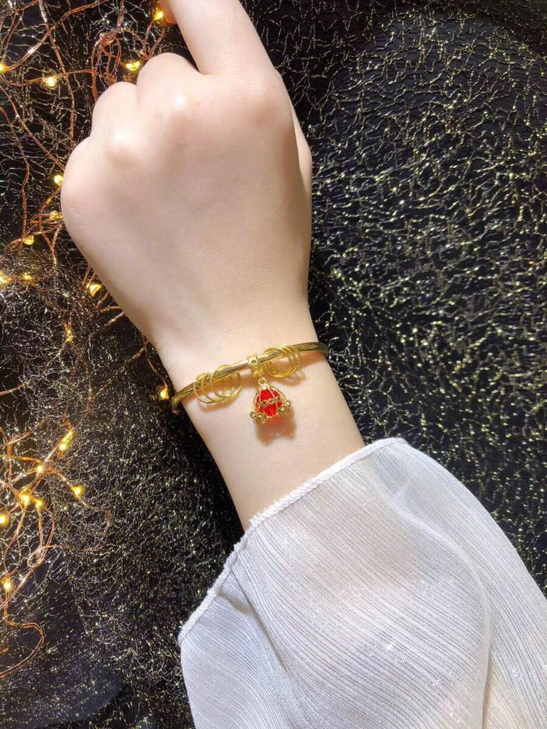 22k Gold carriage pumpkin coach red Swarovski crystal charm bracelet - Xingjewelry