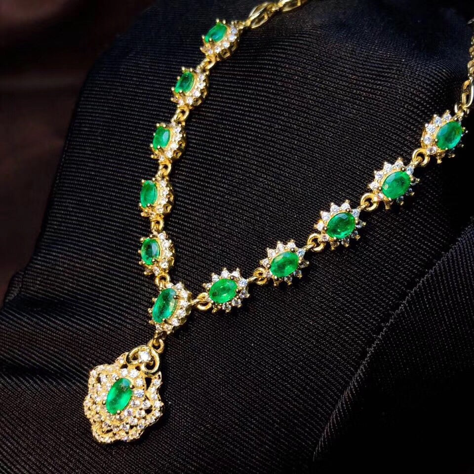 Gold plate silver Emerald stone necklace