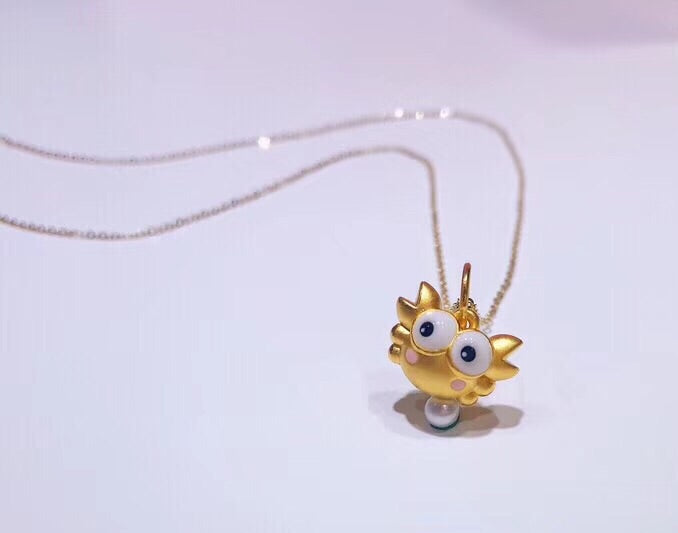 18 k gold crab pendant necklace - Xingjewelry