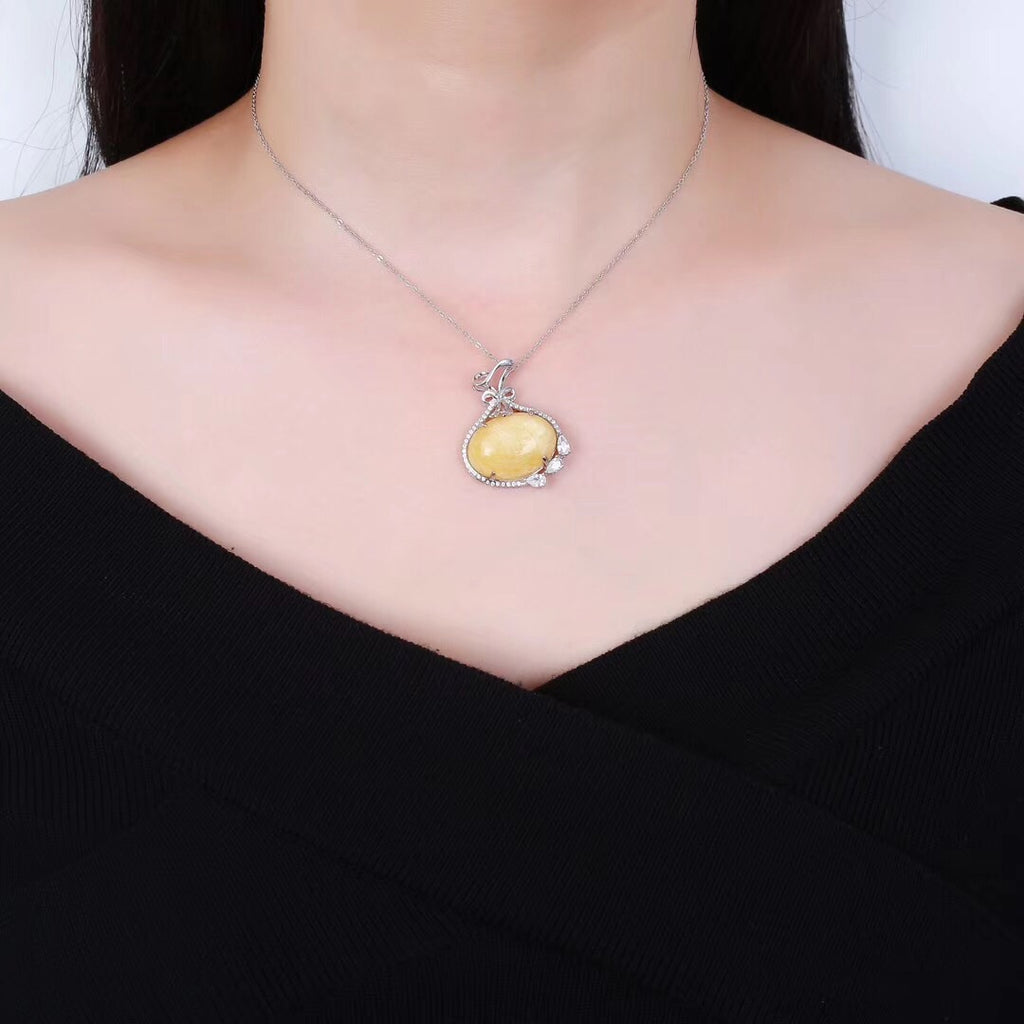 18k gold natural amber pendant necklace - Xingjewelry