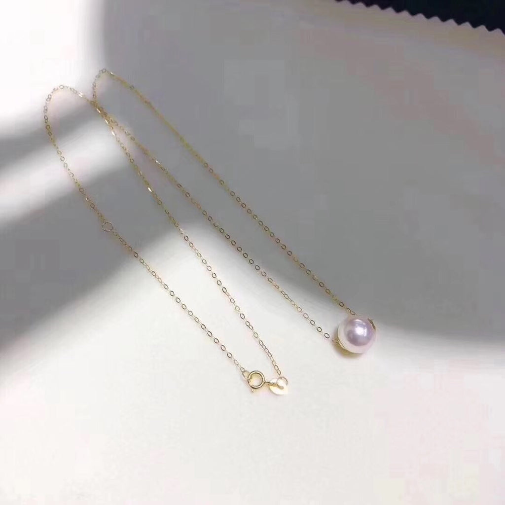 18k gold fresh water pearl bead necklace - Xingjewelry