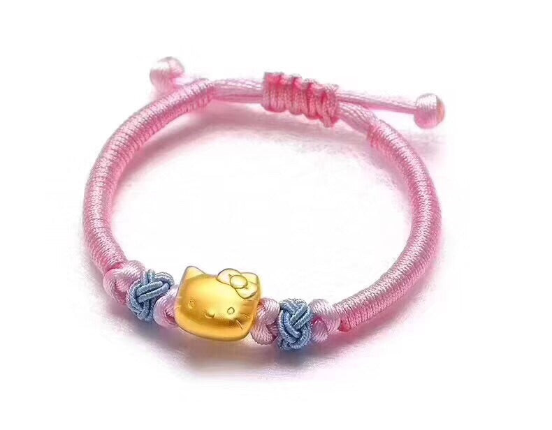 18k gold hello kitty pink bracelet - Xingjewelry