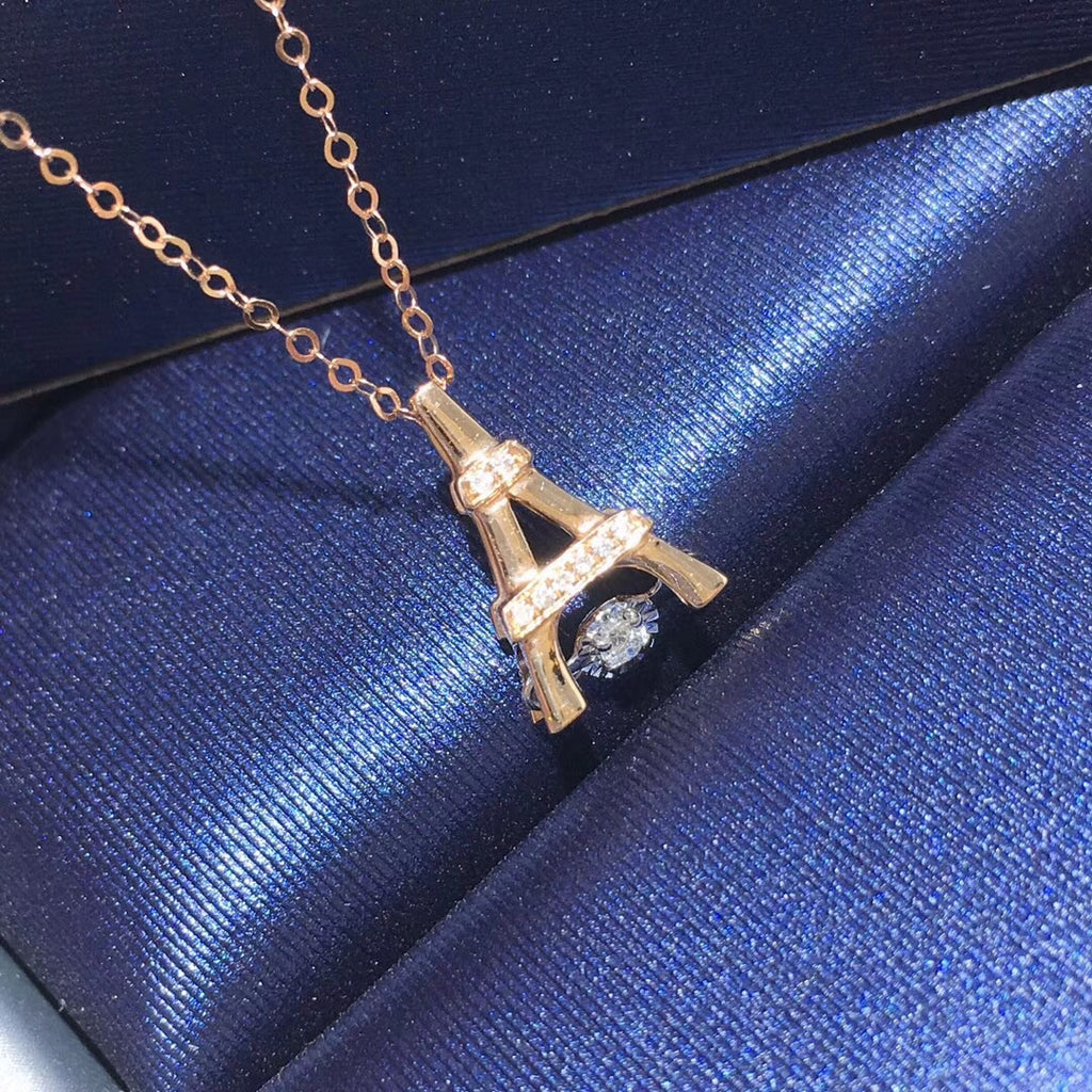 18k gold Eiffel Tower diamond pendant necklace