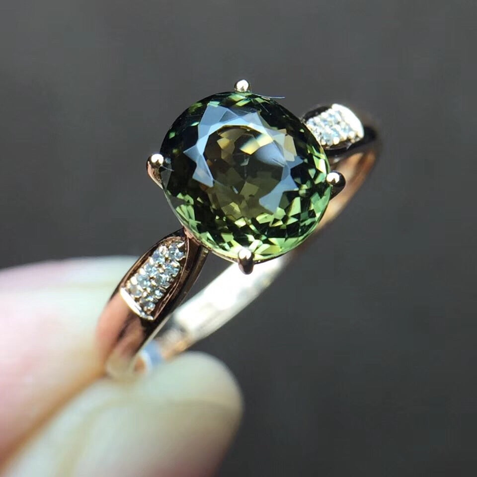 18k gold green tourmaline stone ring - Xingjewelry