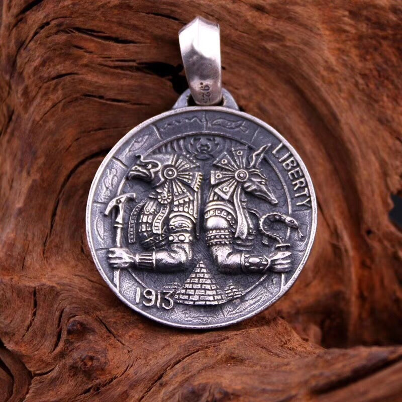925 sterling silver Gaboratory Anubis Horus five cents tag pendant - Xingjewelry