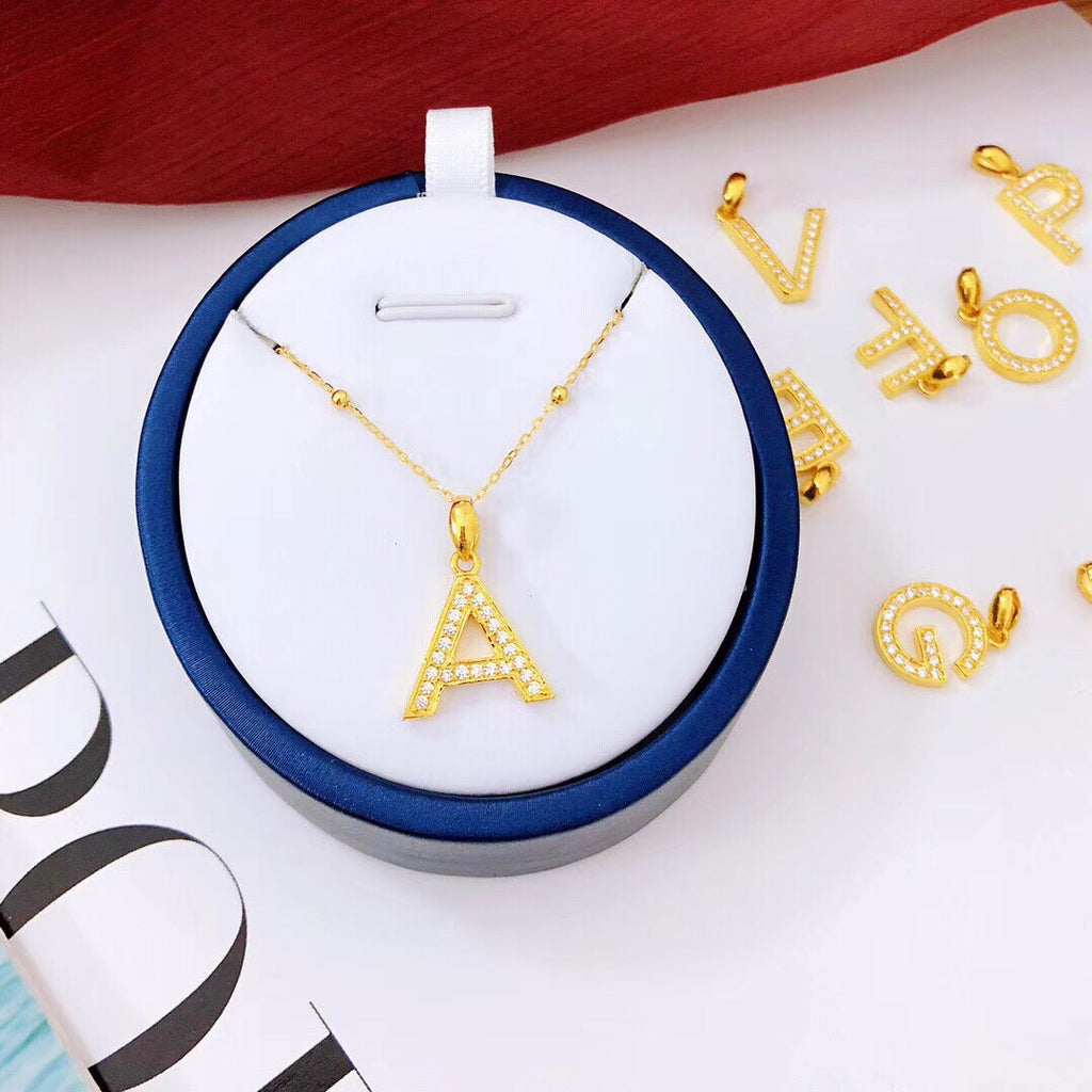 18k gold diamond alphabet necklace - Xingjewelry