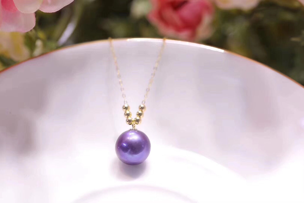 18k gold purple Edison pearl necklace - Xingjewelry
