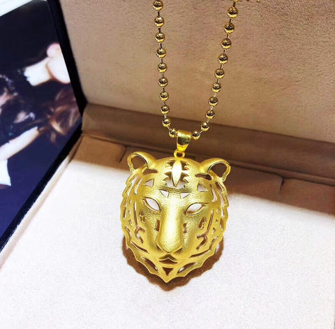 18k gold tiger head pendant necklace