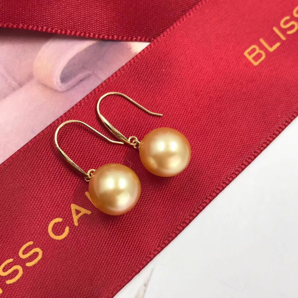 18k rose gold natural gold color pearl earring - Xingjewelry