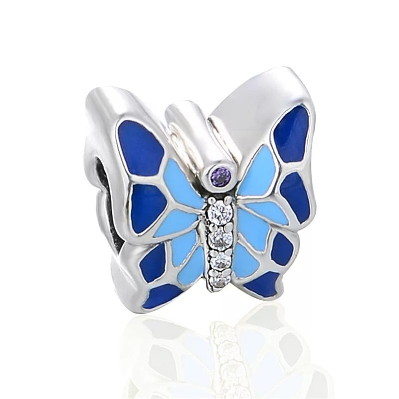 925 silver butterfly blue charm - Xingjewelry