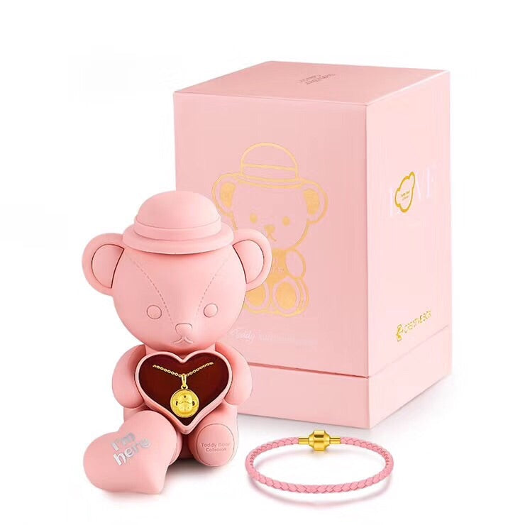Solid gold plate teddy bear gift set