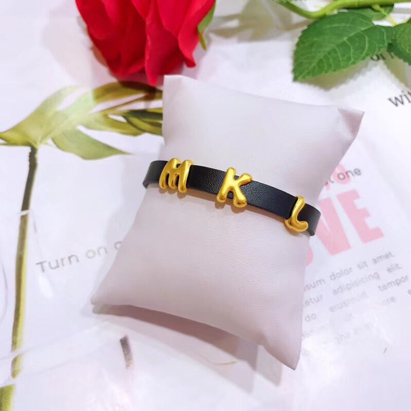 26 English letter solid gold bracelet charm / with leather bracelet - Xingjewelry