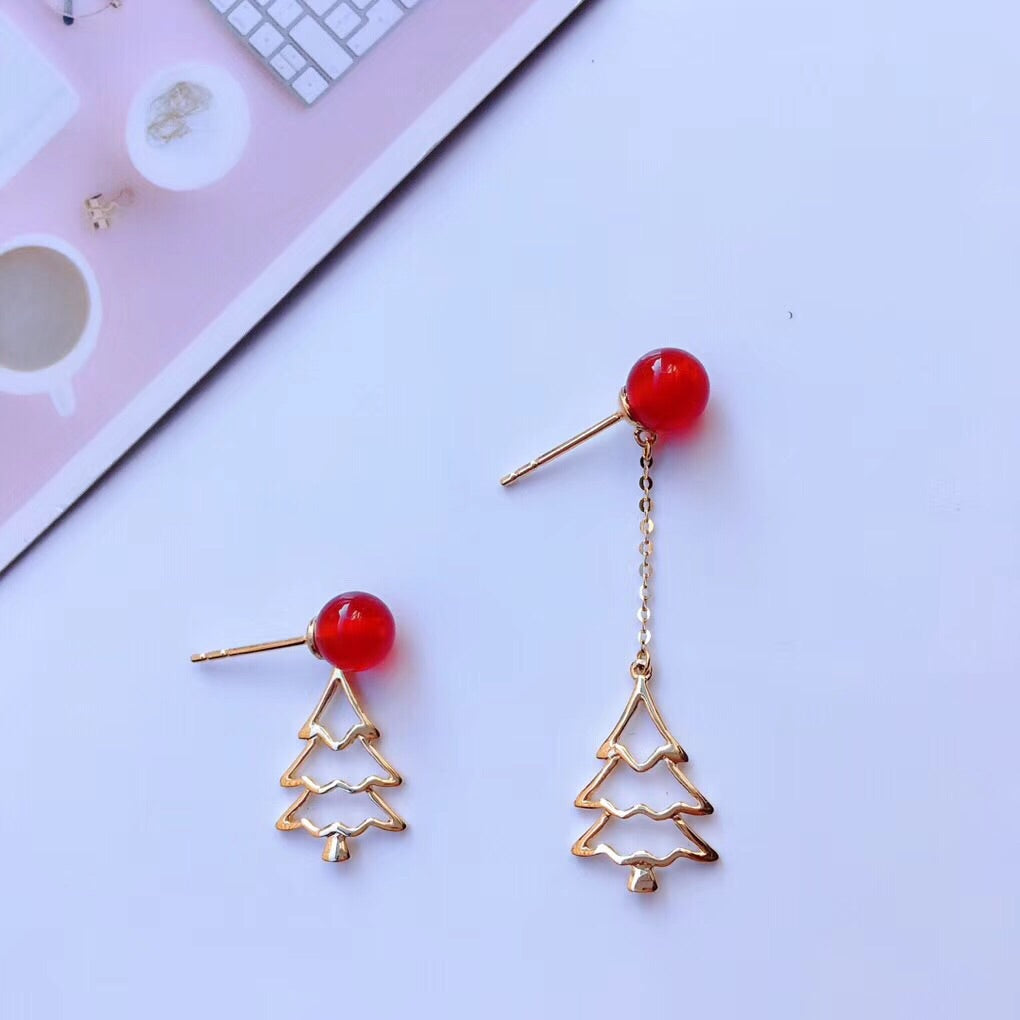 18k gold Christmas tree earring - Xingjewelry