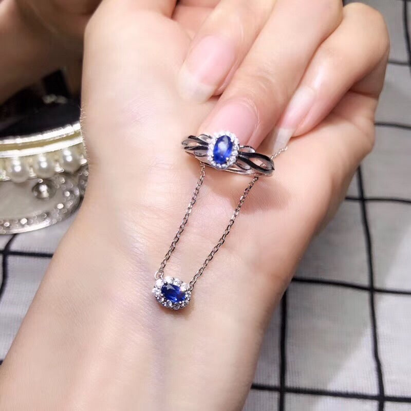 925 sterling silver sapphire stone necklace ring