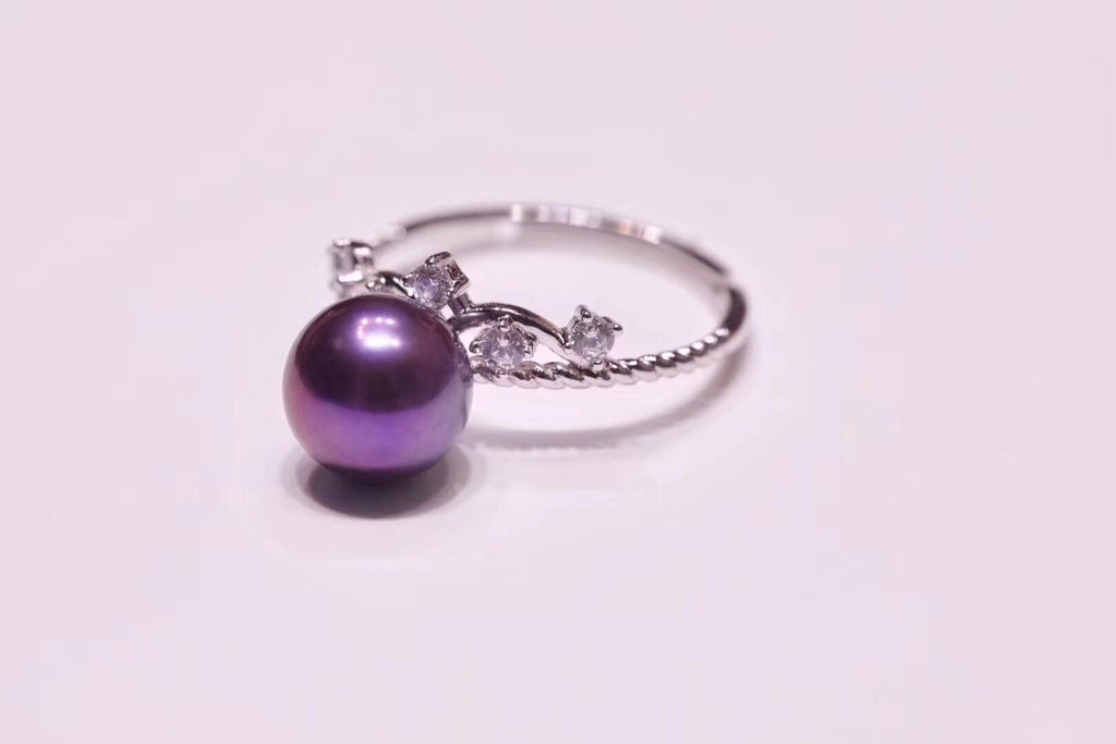 925 sterling silver purple Edison pearl open ring