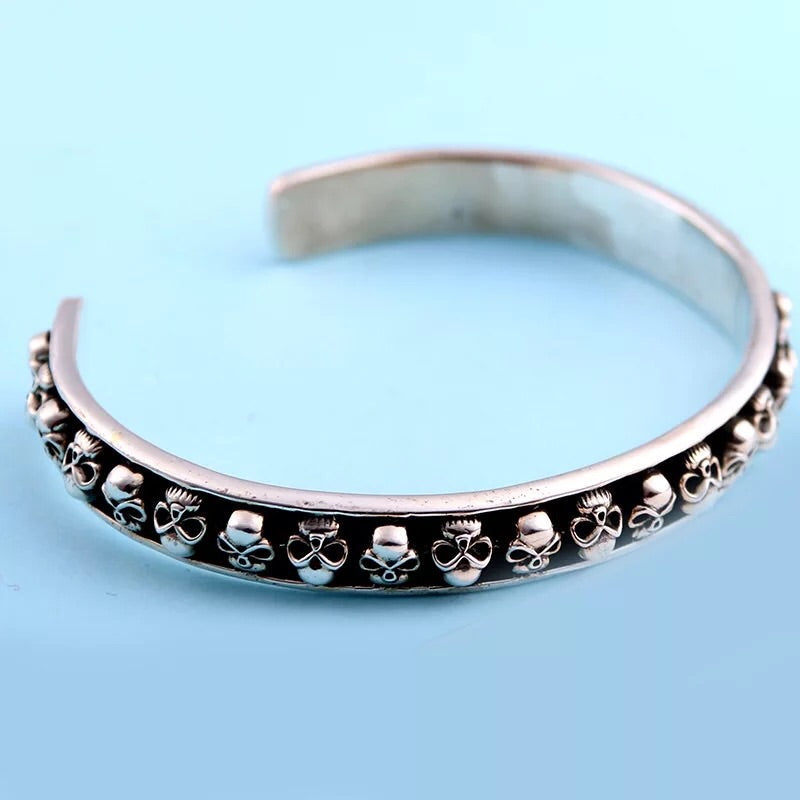 Silver skull black bangle bracelet - Xingjewelry