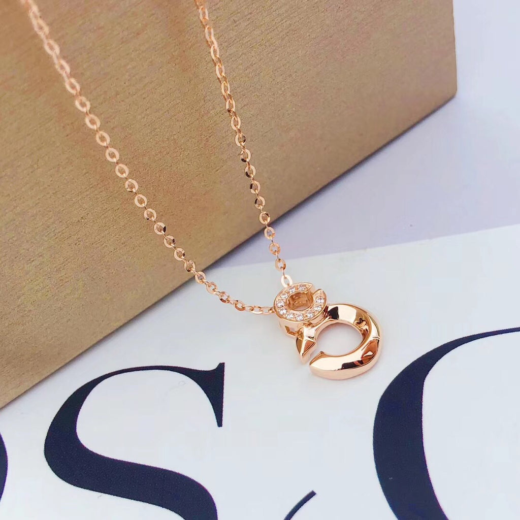 18k gold CC pendant necklace - Xingjewelry