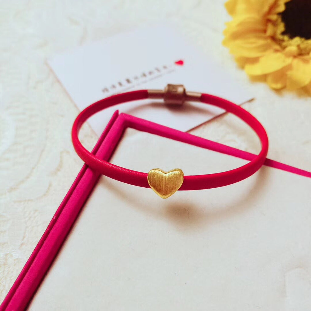 18k gold heart love simple leather bracelet - Xingjewelry