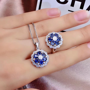 925 sterling silver blue sapphire stone necklace ring